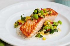 Pan Roasted Salmon with Summer Succotash recipe by Giada De Laurentiis