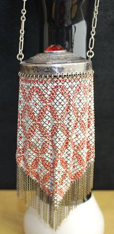Early Mandalian Enamel Mesh Compact Top Large Red Jewel