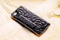 Chanel iPhone 6 Super Thin Rose Embossed Paten Leather Case Black Free Shipping - Deluxeiphone6case.com