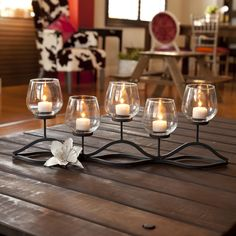 Wavy Iron and Glass Hurricane Candleholder for Five Candles - Overstock™ Shopping - Great Deals on Danya B Candles & Holders