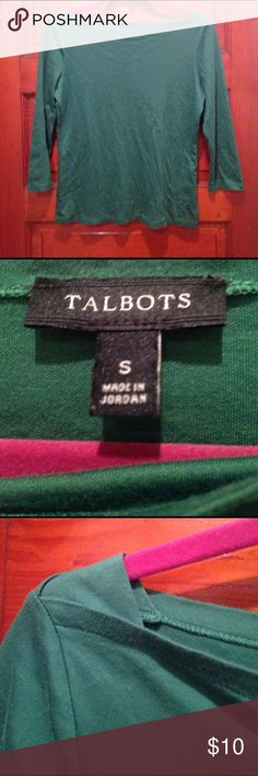 Talbots boatneck 3/4 sleeve shirt Gorgeous shade of kelly green. excellent condition free of rips or stains. Unique boatneck design. Talbots Tops Tees - Long Sleeve