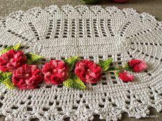 Tapete oval em crochê com aplicação de flores – Passo a passo (3ª Parte)