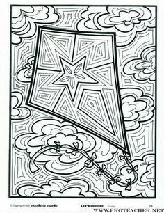 Stained glass-looking kite to color. Doodle Pages, Doodle Art, Coloring Book Pages, Coloring Sheets, Free Adult Coloring, Go Fly A Kite, Doodle Coloring, Canvas Designs, Art Activities