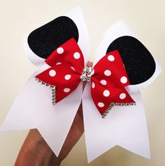 Minnie Mouse Cheer Bow! GREAT FOR TEAMS HEADING TO DISNEY WHITE STIFF GROSGRAIN WITH GLITTER EARS AND POLKA DOT MININBOW AND RHINESTONE TRIM! Ponytail holder attached! FREE SHIPPING!