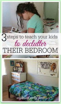 Is the mess and clutter in your kids' bedrooms driving you crazy? Here's 3 simple steps to teach your child to successfully declutter their own bedroom & let go of things. As well as toy organization ideas, storage and decor. #declutter #kids #kidsbedrooms #clean #tidy