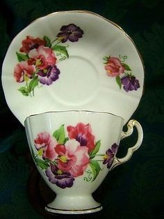 Adderley Bone China Cup & Saucer~Pink & Purple Sweet Peas~Made in England
