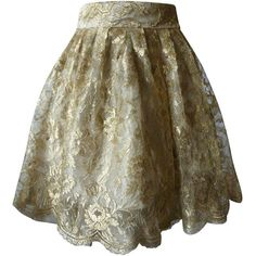 Pre-owned Gianni Versace Couture Tiered Gold Lace Overlay Evening... ($5,000) ❤ liked on Polyvore featuring skirts, blablabla, evening skirts, holiday tree skirts, layered skirt, holiday skirts and versace skirt