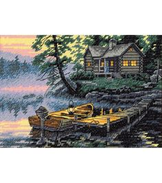 Dimensions Gold Collection Counted Cross Stitch Kit, Morning Lake, 18 Cunt Ivory Aida, x Cross Stitching, Cross Stitch Embroidery, Cross Stitch Patterns, Learn Embroidery, Loom Patterns, Embroidery Kits, Dimensions Cross Stitch, Cross Stitch Landscape, Counted Cross Stitch Kits