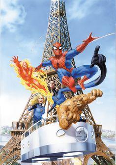 Spiderman and the Fantastic Four Visit France Ms Marvel, Marvel Comics Art, Marvel Heroes, Marvel Avengers, Comic Book Artists, Comic Book Characters, Marvel Characters, Comic Books, Comic Art