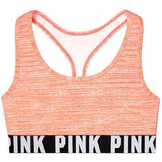 PINK Cotton Bra Top ($25) ❤ liked on Polyvore featuring activewear, sports bras, tops, underwear, bras, racerback bra top, racer back sports bra, pink sports bra, racerback sports bra and logo sportswear