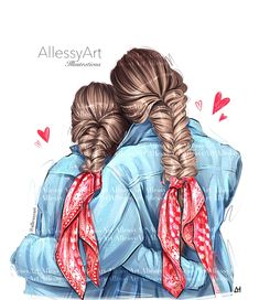 Mother Daughter Art, Daughter Love, Friends Clipart, Very Nice Images, Girly Drawings, Textile Logo, Cartoon Art, Digital Illustration, Art Girl