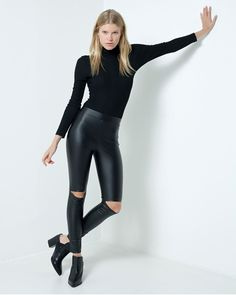 Show details for Faux Leather Open Knee Leggings
