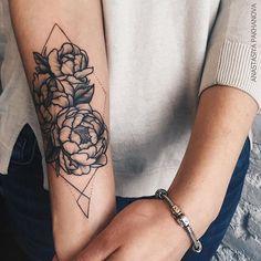 Пионы для Александры ❤️ #nastyatattooer #dotwork #linework #tattoo #peony…