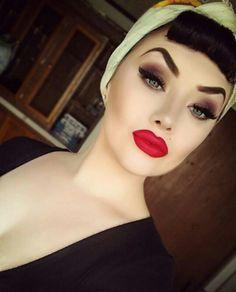 @oxamberlyxo #perfect #redlipstick #headscarf #rockabilly