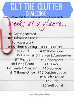 cut the clutter challenge weekly list - step by step to declutter your home - follow along today!  DECLUTTER // CLUTTER // TIDY // SIMPLIFY