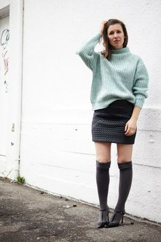 Soft Joe Fresh sweater paired with a leather skirt from Forever 21 on Toronto fashion blogger Threads & Blooms