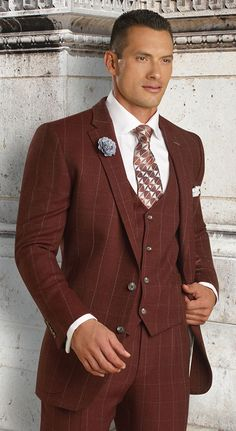 Tayion Suits Mens Burgundy Plaid 100% Wool 3 Piece 004-Chadsey