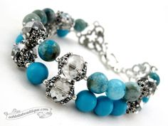 Rotheca handmade turquoise Howlite and Agate bracelet by Ooh-la-la Beadtique $19.00
