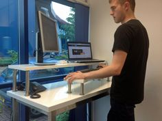 Love this clever adaptation, if your standing desk still doesn't get your keyboard high enough! Also allows for easy adjustment when you want to perch on a stool instead of standing. From: Stand Up Desks: Our DIY Solution & How it Could Change Your Life