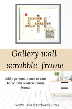 Our scrabble art frames are so personal and gorgeous and they are beautiful accessories for your wall decor ! Wonderful gifts for new home, your gallery wall,living room,family room decor ...Our scrabble art frames are memorable personalised gifts for family or friends for any occassion.. White or Brown frameHuge selection of backgrounds & embellishments available..Please check our etsy for more designs #scrabbleframes,#scrabbleart,#familyscrabble Scrabble Frame, Wooden Scrabble Tiles, Scrabble Art, Personalized Wall Decor, Personalised Family Tree, Personalised Gifts, New Home Gifts, Gifts For Family, Melted Crayon Crafts