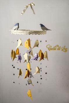 Móbile pássaros origami | Cecile de Luz - Flores e Arte em papel | Elo7