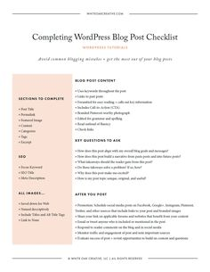 FREE DOWNLOAD: How to Complete a WordPress Blog Post Checklist // A step-by-step guide of everything you should do before hitting publish on that WordPress post, including: post title, permalink, post categories, post tags, featured image, and more.