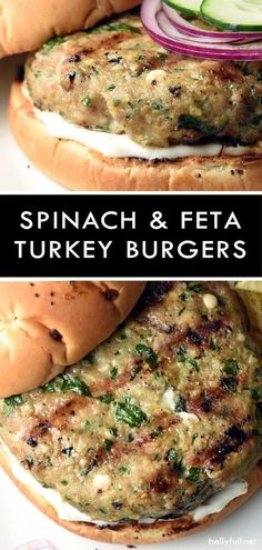 turkey burgers are filled with delicious spinach and feta, which helps them stay moist and lends so much flavor!These turkey burgers are filled with delicious spinach and feta, which helps them stay moist and lends so much flavor! Turkey Burger Recipes, Ground Turkey Recipes, Chicken Recipes, Healthy Turkey Burgers, Turkey Feta Spinach Burgers, Homemade Turkey Burgers, Grilled Turkey Burgers, Seasoning For Turkey Burgers, Feta Burger Recipe