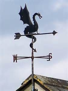 Wyvern (a winged two-legged dragon with a barbed tail) weathervane - dragon weather vane Wind Direction, Lightning Rod, Wind Spinners, Metal Roof, Yard Art, Windmill, Blacksmithing, Metal Art, Ideas