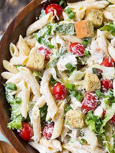 11 Pasta Salad Recipes You Need in Your Life this Summer | CHICKEN CAESAR | One of the best pasta salad inspos? Regular salads! Take your favorite greens combo – like Caesar – and dress it up with some noodles.Get the recipe HERE.
