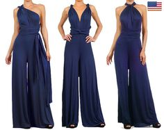 Infinity Convertible Jumpsuit Navy Multiway Wrap Solid Romper Palazzo Overall One Piece S M L Jumpsuit Elegante, New Mode, Look 2018, Dressy Pants, Convertible Dress, Jeans Denim, Jumpsuit Dress, Elegant Woman, Clubwear