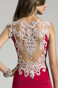 An amazing applique over a sheer illusion mesh back adds a touch of elegance to this dress! Lara 42415 Dress / $398 - Shop the look at: www.christellas.com #prom #dresses #homecoming