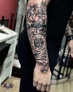 Tatuagem de relógio com rosas e arabescos Outer Forearm Tattoo, Forearm Sleeve Tattoos, Best Sleeve Tattoos, Tattoo Sleeve Designs, Arm Band Tattoo, Inner Arm Tattoos, Forarm Tattoos, Rose Tattoos, Body Art Tattoos