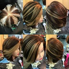 Another amazing pinwheel techniqe Hot Hair Colors, Hair Color And Cut, Cool Hair Color, Short Medium Length Hair, Medium Hair Styles, Short Hair Styles, Hair Color Placement, Copper Red Hair, Hair Color Formulas