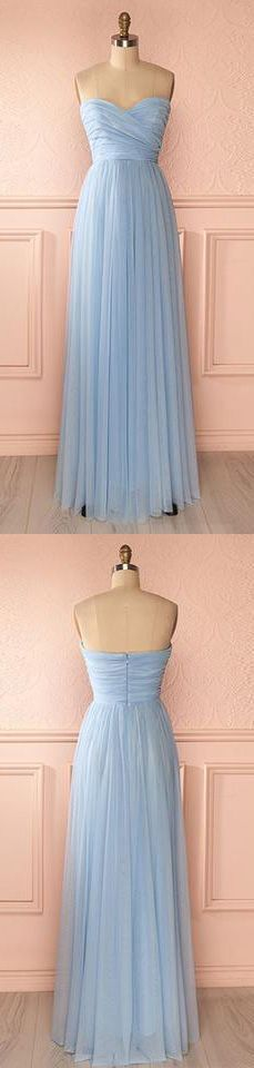 Strapless Simple Tulle Prom Dress Pleated with Sweetheart Neckline