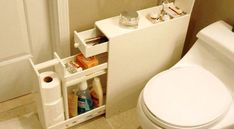 rv storage ideas - Never mind RV. How about using this in a small bathroom where there is no storage or a pedestal sink. Bathroom Storage Solutions, Small Bathroom Organization, Bathroom Hacks, Bathroom Ideas, Bathroom Toilets, Bathroom Renos, Budget Bathroom, Narrow Bathroom Cabinet, Bathroom Cabinets