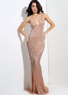 b3014c92a916 Goal Digger Champagne Embellished Sequin Maxi Party Gown Dress