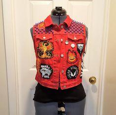 Sailor Mars Punk Studded Vest size Large by OutcastThreads on Etsy