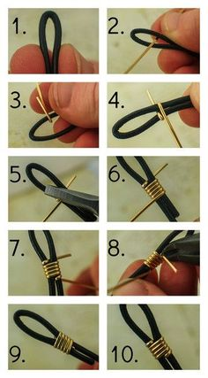 How to Finish Leather Cord with Wire Unkamen Supplies by mmdomDeus DIY JEWELRY - How to Finish Leather Cord with Wire by Unkamen Supplies. You can also use this for eyeglass holder ends. I often am asked what the best way to finish leather cord is, or how Wire Wrapped Jewelry, Wire Jewelry, Jewelry Crafts, Beaded Jewelry, Jewelery, Cheap Jewelry, Jewelry Ideas, Silver Jewellery, Jewelry Websites