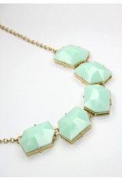 Modern Art Mint Necklace