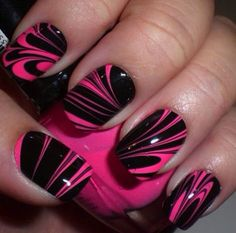 Pink and black swirly Marble nails