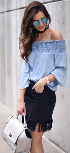 lovely spring outfits /  Blue Off Shoulder Top / Black Fringed Denim Skirt / White Leather Tote Bag