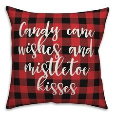 The Holiday Aisle Patrice Candy Cane Kisses and Mistletoe Kisses in Buffalo Check Plaid Product Type: Pillow Cover Plaid Christmas, Christmas Signs, Country Christmas, Christmas Projects, Diy Christmas Pillows, Christmas Room, Buffalo Check Christmas Decor, Christmas Pictures, Christmas Stuff