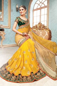 Yellow Georgette Wedding Saree
