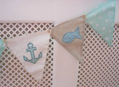 like the buttons connecting the flags Nautical Bunting, Nautical Baby, Nautical Theme, Baby Boy Rooms, Little Girl Rooms, Baby Boys, Nursery Ideas, Room Ideas, Sewing Ideas