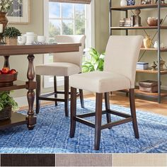 Parson Classic Linen Counter Height High Back Stools by TRIBECCA HOME (Set of 2)