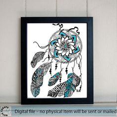large Printable Art. Hand Painting Wall decor. Ethnicity 60x42 cm. Instant Download. Kids Room Wall Decor. Nursery art. Ethnic zen art style