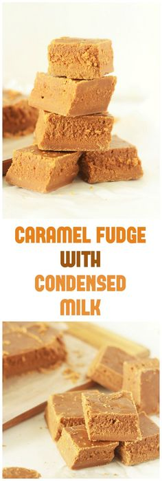 Easy Caramel Fudge with condensed milk without using thermometer. Tasty, yummy c… Easy Caramel Fudge with condensed milk without using thermometer. Tasty, yummy caramel fudge made with sweetened condensed milk that just melts in. Candy Recipes, Baking Recipes, Sweet Recipes, Dessert Recipes, Fudge With Condensed Milk, Sweetened Condensed Milk Fudge, Condensed Milk Desserts, Condensed Milk Cookies, Gastronomia