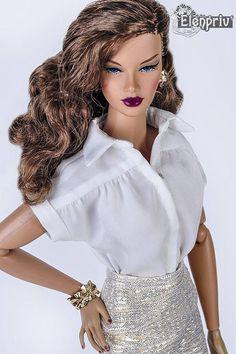 ELENPRIV white silk blouse with short sleeves for Fashion