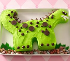 Cute dino cake minus the mouth...looks like rock chocolate candy at the bottom, fruit roll up grass, kisses, brown reg. and mini m & m candies, and PB cups...