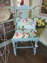Hand Painted Shabby Blue Chair..Chic Distressed...Roses Cushion
